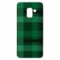 Чохол для Samsung A8 2018 Зелений в клітку - FatLine