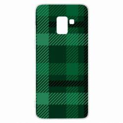 Чохол для Samsung A8+ 2018 Зелений в клітку - FatLine