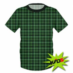 Дитяча 3D футболка Зелений в клітку - FatLine
