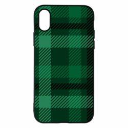 Чохол для iPhone X Зелений в клітку - FatLine