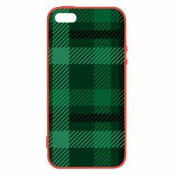 Купить Арт дизайн, Чехол для iPhone5/5S/SE Зеленый в клетку, FatLine