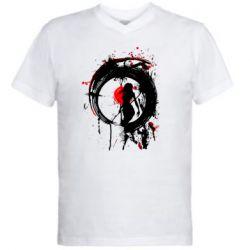 Чоловіча футболка з V-подібним вирізом Zen girl art