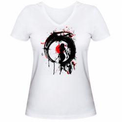Жіноча футболка з V-подібним вирізом Zen girl art