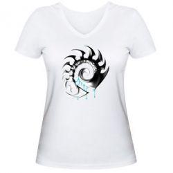 Женская футболка с V-образным вырезом Zerg Symbol - FatLine