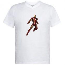 Мужская футболка  с V-образным вырезом Железный Человек в воздухе - FatLine