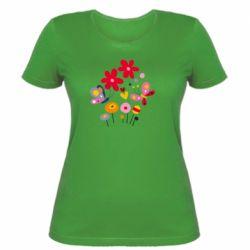 Женская футболка Flowers and Butterflies