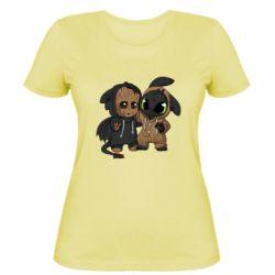 Женская футболка Groot And Toothless