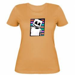 Женская футболка Marshmello Colorful Portrait