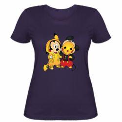 Женская футболка Mickey and Pikachu