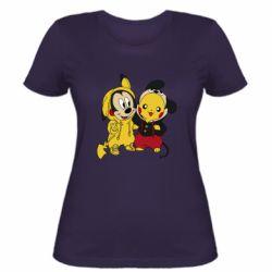 Женская футболка Пикачу и Микки Маус
