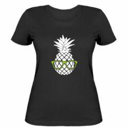 Женская футболка Pineapple with glasses
