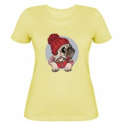 Жіноча футболка Pug And Coffee