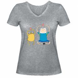 Жіноча футболка з V-подібним вирізом Adventure time