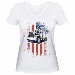 Жіноча футболка з V-подібним вирізом American Truck
