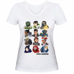 Жіноча футболка з V-подібним вирізом Apex legends heroes