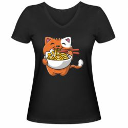 Жіноча футболка з V-подібним вирізом Cat and Ramen