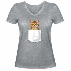 Женская футболка с V-образным вырезом Cat in your pocket