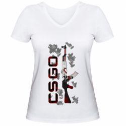 Женская футболка с V-образным вырезом CSGO and gun
