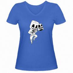 Женская футболка с V-образным вырезом DJ marshmallow 1