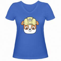 Жіноча футболка з V-подібним вирізом Dog in helmet