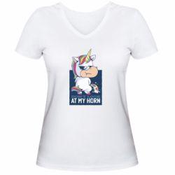 Жіноча футболка з V-подібним вирізом Don't look at my horn