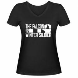 Жіноча футболка з V-подібним вирізом Falcon and winter soldier logo