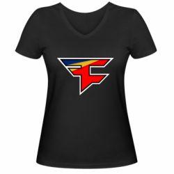 Жіноча футболка з V-подібним вирізом FaZe Clan