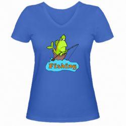 Женская футболка с V-образным вырезом Fish Fishing