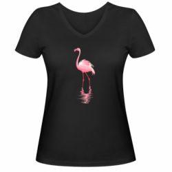 Жіноча футболка з V-подібним вирізом Фламинго