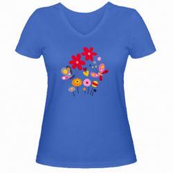 Женская футболка с V-образным вырезом Flowers and Butterflies