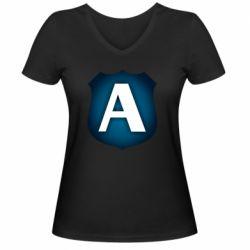 Жіноча футболка з V-подібним вирізом Форум Антиколлектор Лого Минимал
