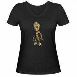 Женская футболка с V-образным вырезом Groot teen