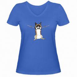 Женская футболка с V-образным вырезом Grumpy Cat On The Rope