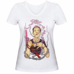 Жіноча футболка з V-подібним вирізом Gun, Coffee and Cigarettes