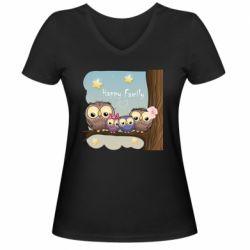 Жіноча футболка з V-подібним вирізом Happy family