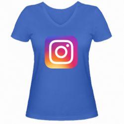 Жіноча футболка з V-подібним вирізом Instagram Logo Gradient