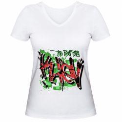 Женская футболка с V-образным вырезом Kiev graffiti