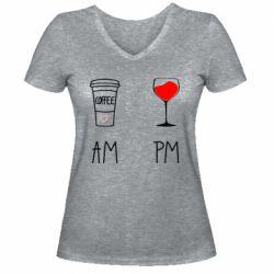 Жіноча футболка з V-подібним вирізом Кофе и бокал с вином