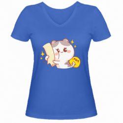 Жіноча футболка з V-подібним вирізом Кішка тримає руку