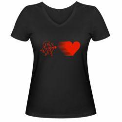 Женская футболка с V-образным вырезом Купидон