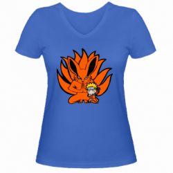 Жіноча футболка з V-подібним вирізом Kurama And Naruto