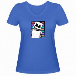 Женская футболка с V-образным вырезом Marshmello Colorful Portrait