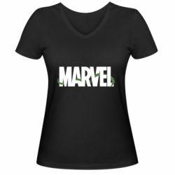 Женская футболка с V-образным вырезом Marvel logo and vine