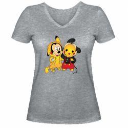 Женская футболка с V-образным вырезом Mickey and Pikachu