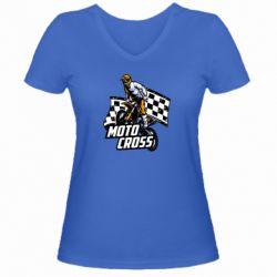 Женская футболка с V-образным вырезом Motocross