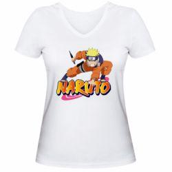Жіноча футболка з V-подібним вирізом Naruto with logo