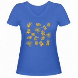 Жіноча футболка з V-подібним вирізом Наскальний Живопис