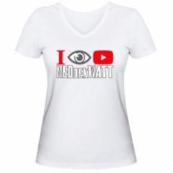 Жіноча футболка з V-подібним вирізом I Watch NEOdekWATT