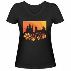 Жіноча футболка з V-подібним вирізом Night-Day Kiev