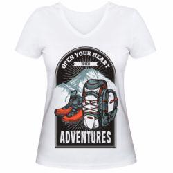Жіноча футболка з V-подібним вирізом Open Your Heart